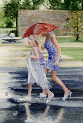 Miniature, watercolour, watercolour paper, miniature, people, rain, umbrellas, walking.