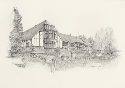 Architectural, graphite pencil, landscape, garden.