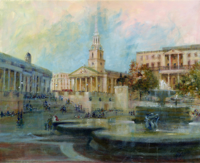 Acrylic, cityscape, Trafalgar Square, St-Martin-In-The-Fields, London. Architectural.