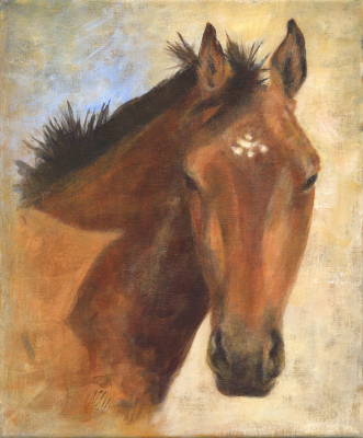 Oil, canvas, portrait, equine, horses, portrait.