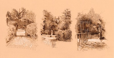 Sepia, pastel, drawing, tinted paper, library, landscape,