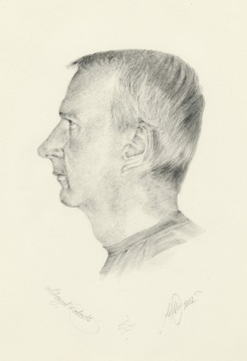 Graphite pencil, watercolour paper, male, portrait, profile.