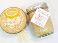 Natural Coconut Lemon Sugar Scrub Body Polish – 8 Oz