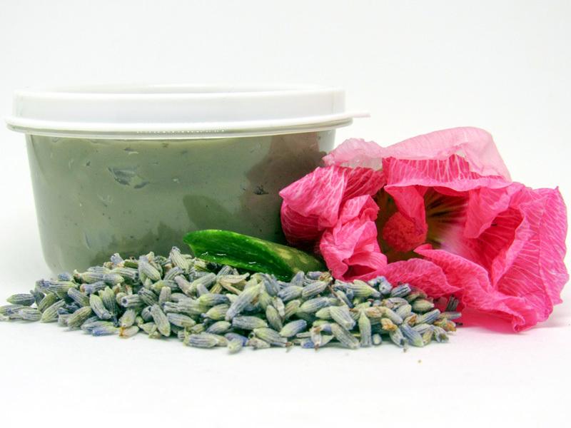 Natural Hollyhock Lavender Herbal Aloe Facial Mask 2 Oz