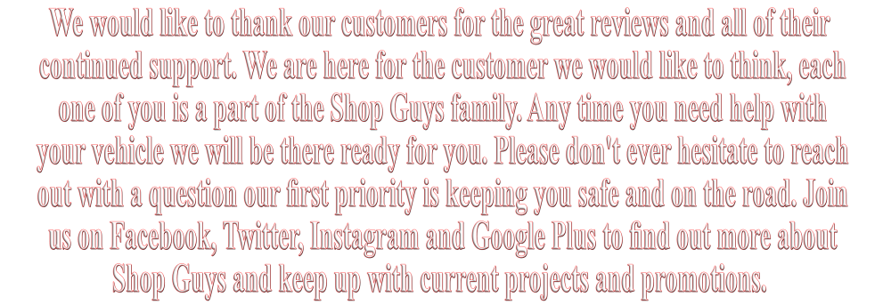 Thank You to our Customers
