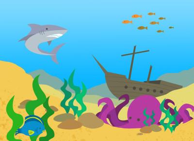 Rock 'n' Kids Underwater Stamp Design