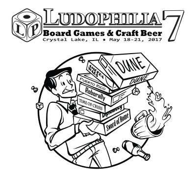 Ludophilia Board Game Convention 2017 T-Shirt Design