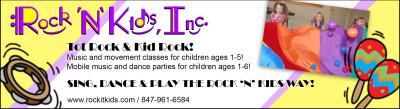 Rock 'n' Kids, Inc. Eblast Advertisement