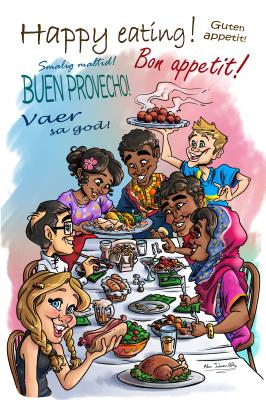 Cookbook caricature illustration