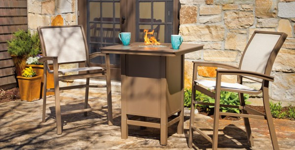 MGP Sling Bar Stools with Bar Height Fire Pit Table