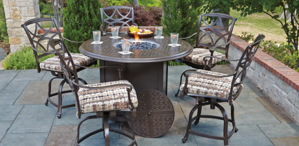 Woodard Cast Fire Pit Bar Table