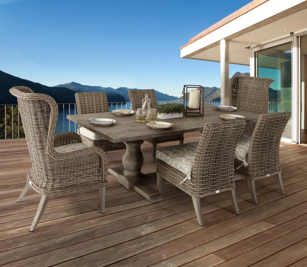 Mirabella Trestle Table with Wicker Dining Chairs