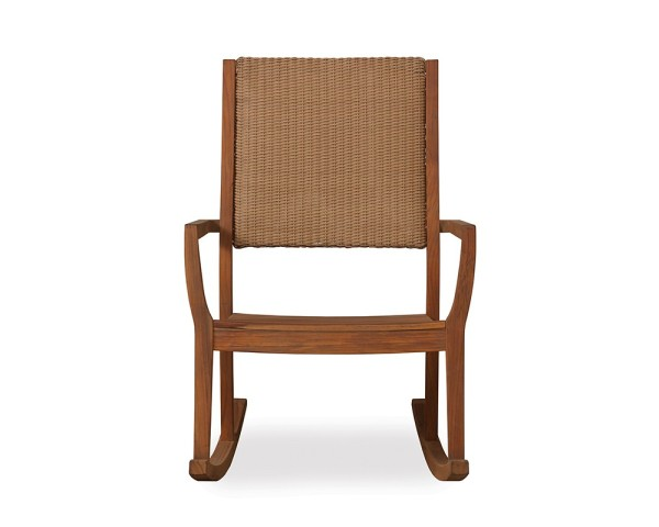 Teak Rocker w/ Wicker Loom Back