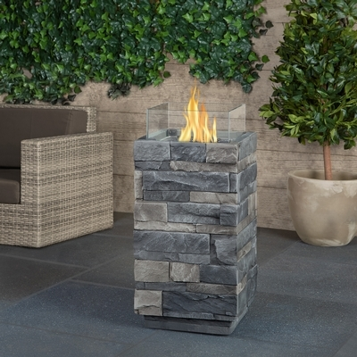 Real Flame Gray Ledgestone Propane Fire Column
