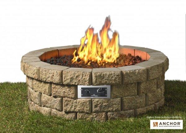 Hudson stone gas fire pit kit