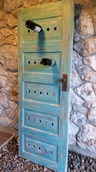 Old Door Upcycled to Wine Rack