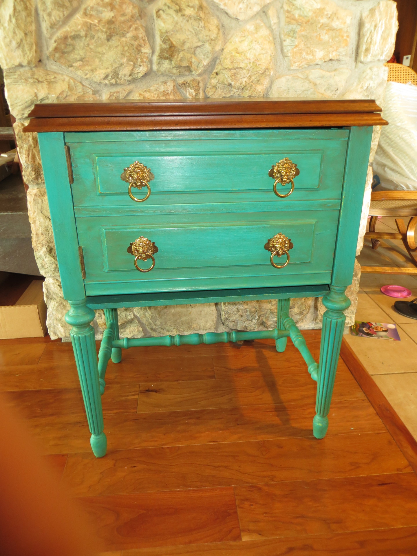 Sewing Cabinet Gets a Pop of Color