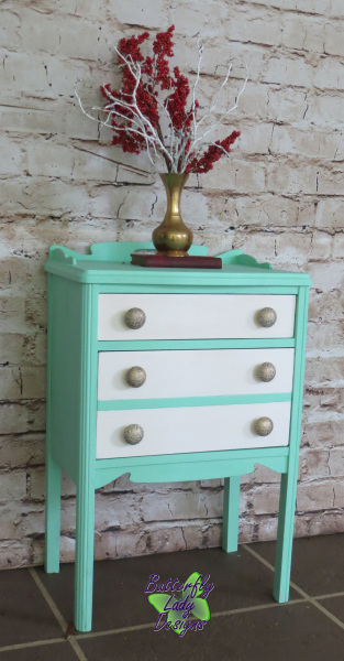 Mint and White Side Table