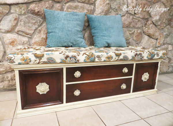 Upholstered Bench from Old Buffet - SOLD