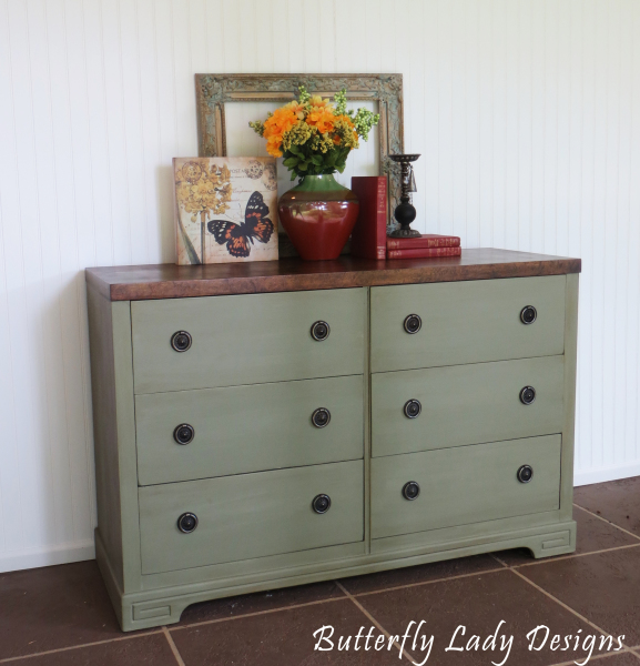 Sage Green Dresser with Wood Top - SOLD