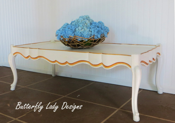 White and Gold French Provencial Coffee Table - SOLD