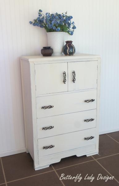 White Highboy Dresser
