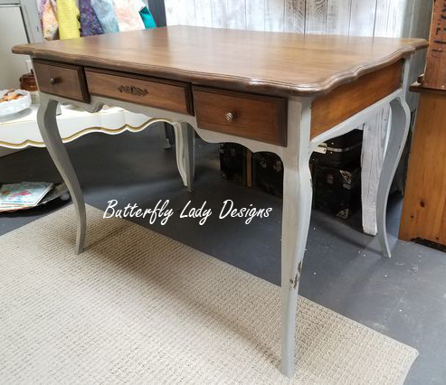 French Provencial Oak Desk in Antique Walnut and Grey
