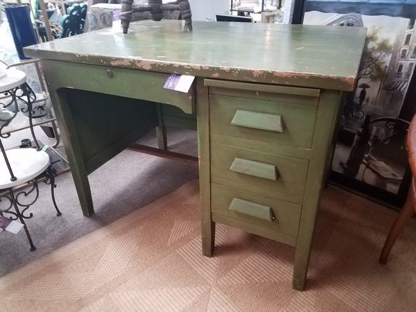 Vintage Chippy Green Accountant Desk
