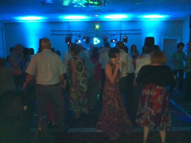 Mobile disco set up guests dancing