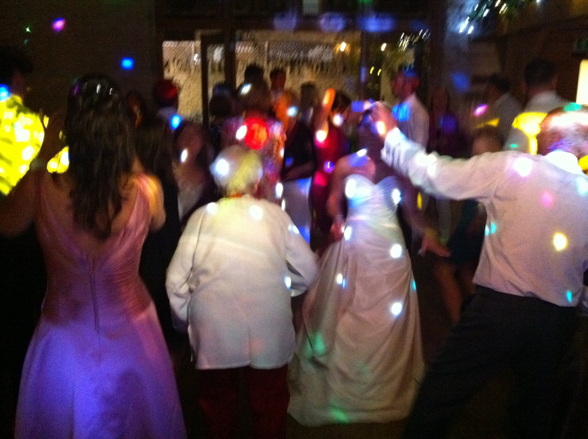 Mobile Disco guests dancing Kingscote Barn Tetbury