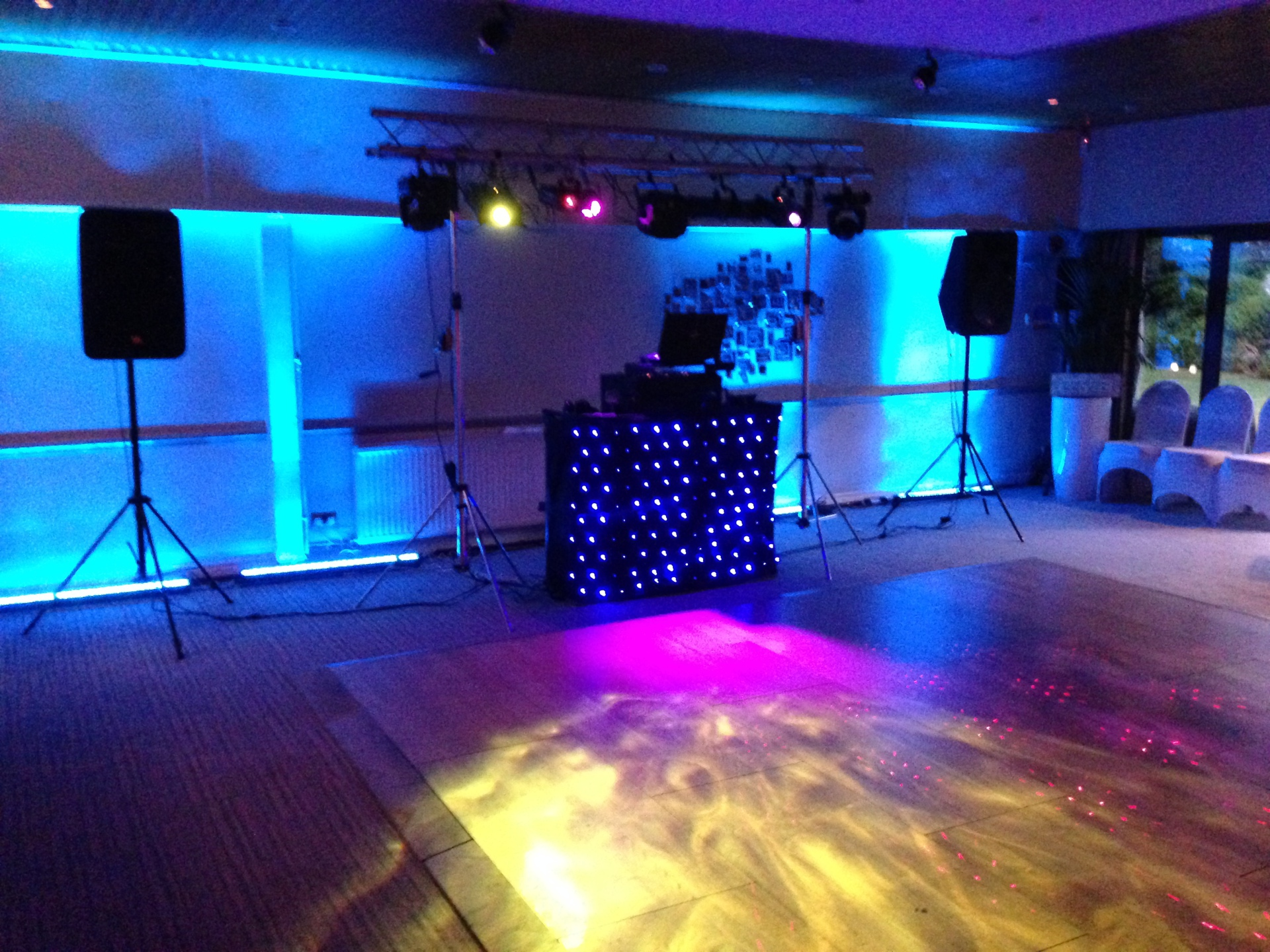 Mobile disco set up at Stonehouse Court Hotel