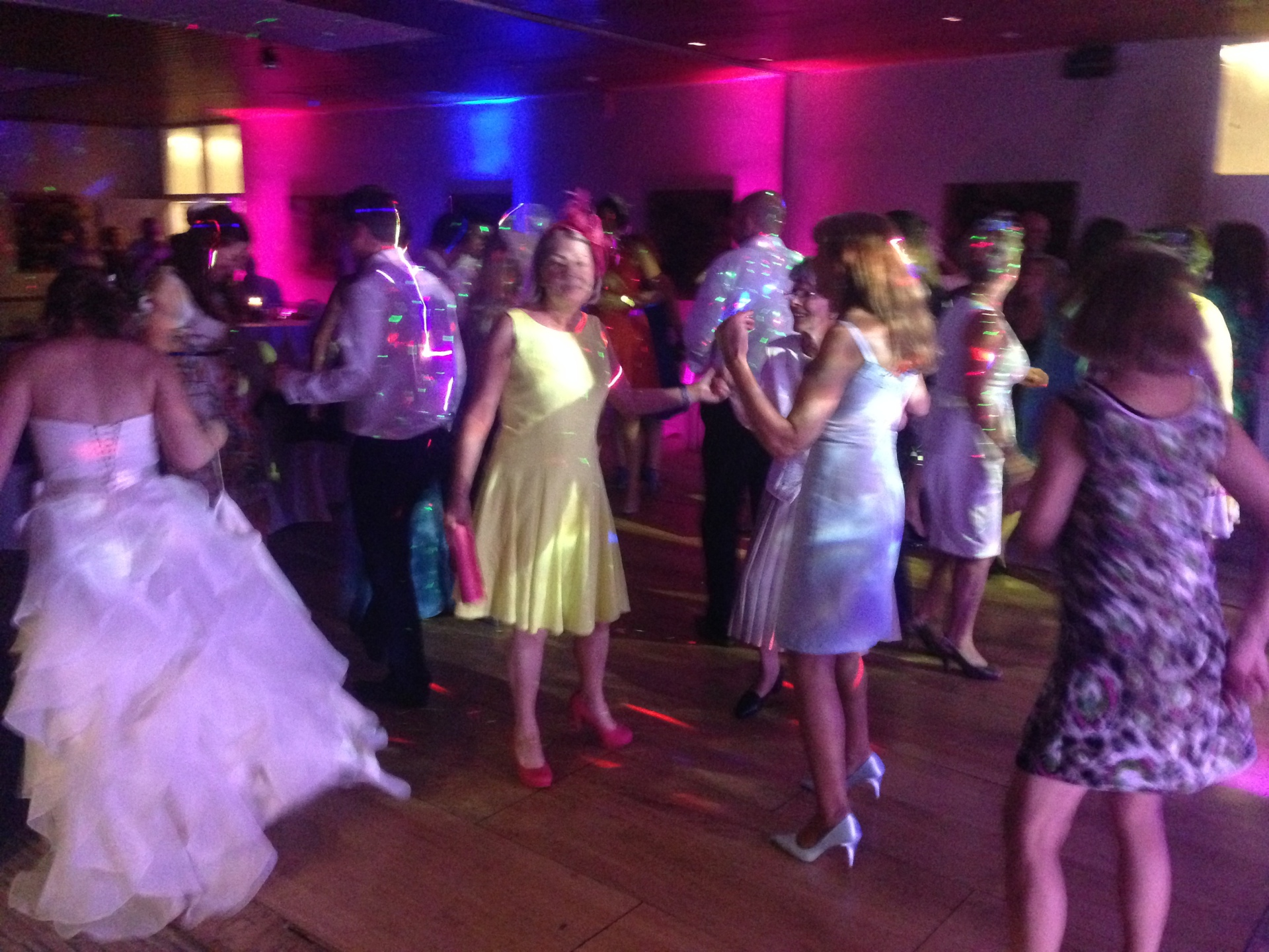 Bride dancing with mobile disco in Cheltenham