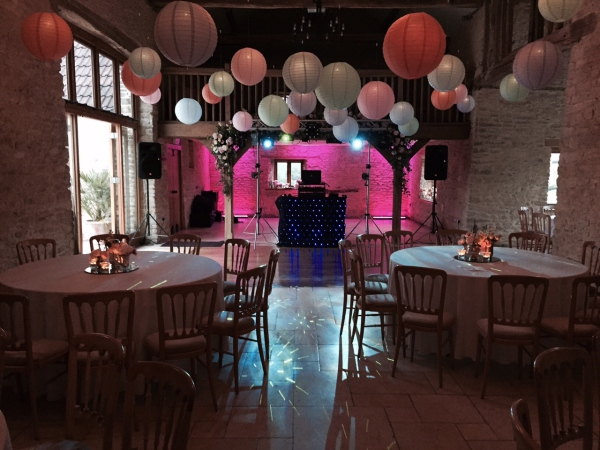 Mobile Disco with lanterns at Kingscote Barn Tetbury Gloucestershire