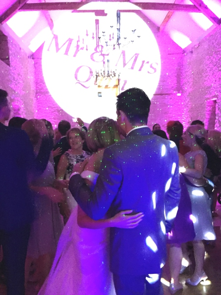 First Dance Disco Spotlight at Kingscote Barn Gloucestershire