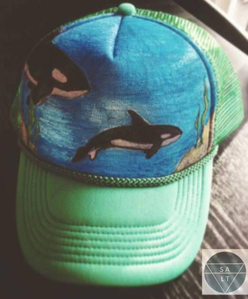 "CUSTOM "" Harper's Orcas"" on Green Hat"