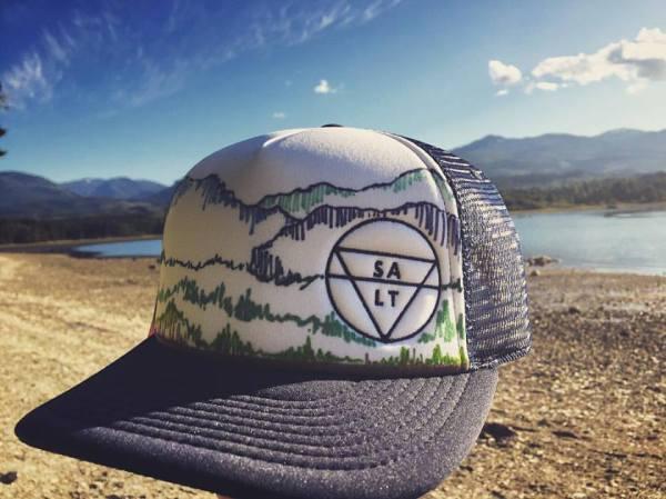 "CUSTOM ""Mountains"" on Navy Hat"
