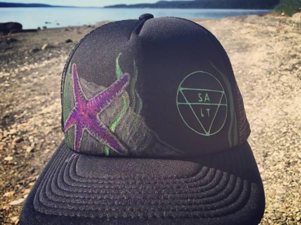 """CUSTOM """"Purple Starfish"""" on Black Hat"""