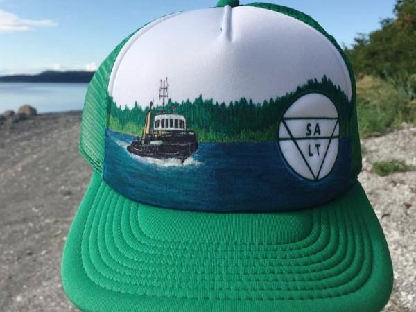 """CUSTOM """"Chris's Tug Boat"""" on Green Hat"""