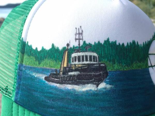 """CUSTOM """"Chris's Tug Boat"""" on Green Hat - Detail"""