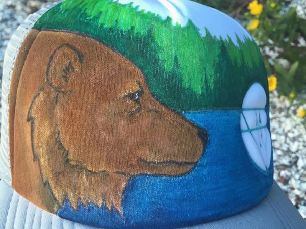 "CUSTOM ""Bear"" on Grey Hat"