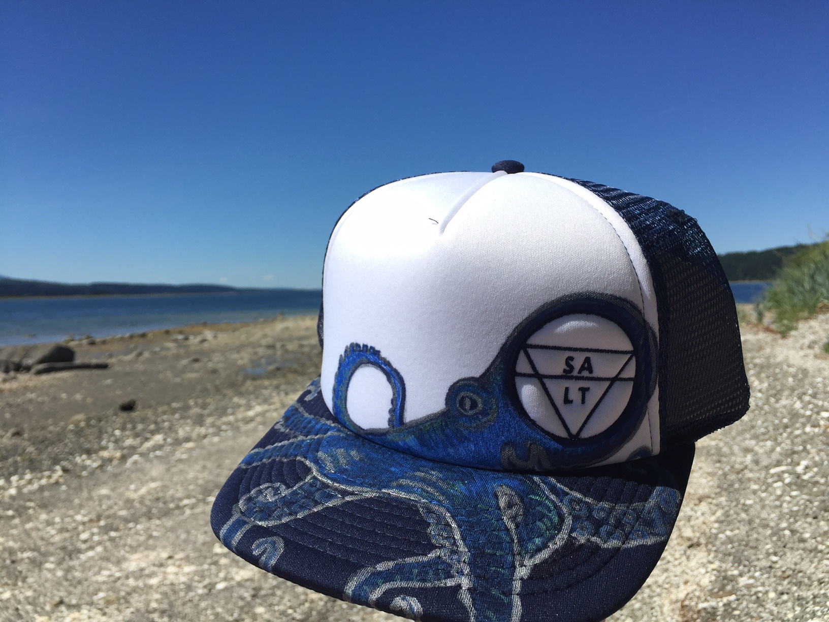 """Blue Octopus"" on Navy Hat"