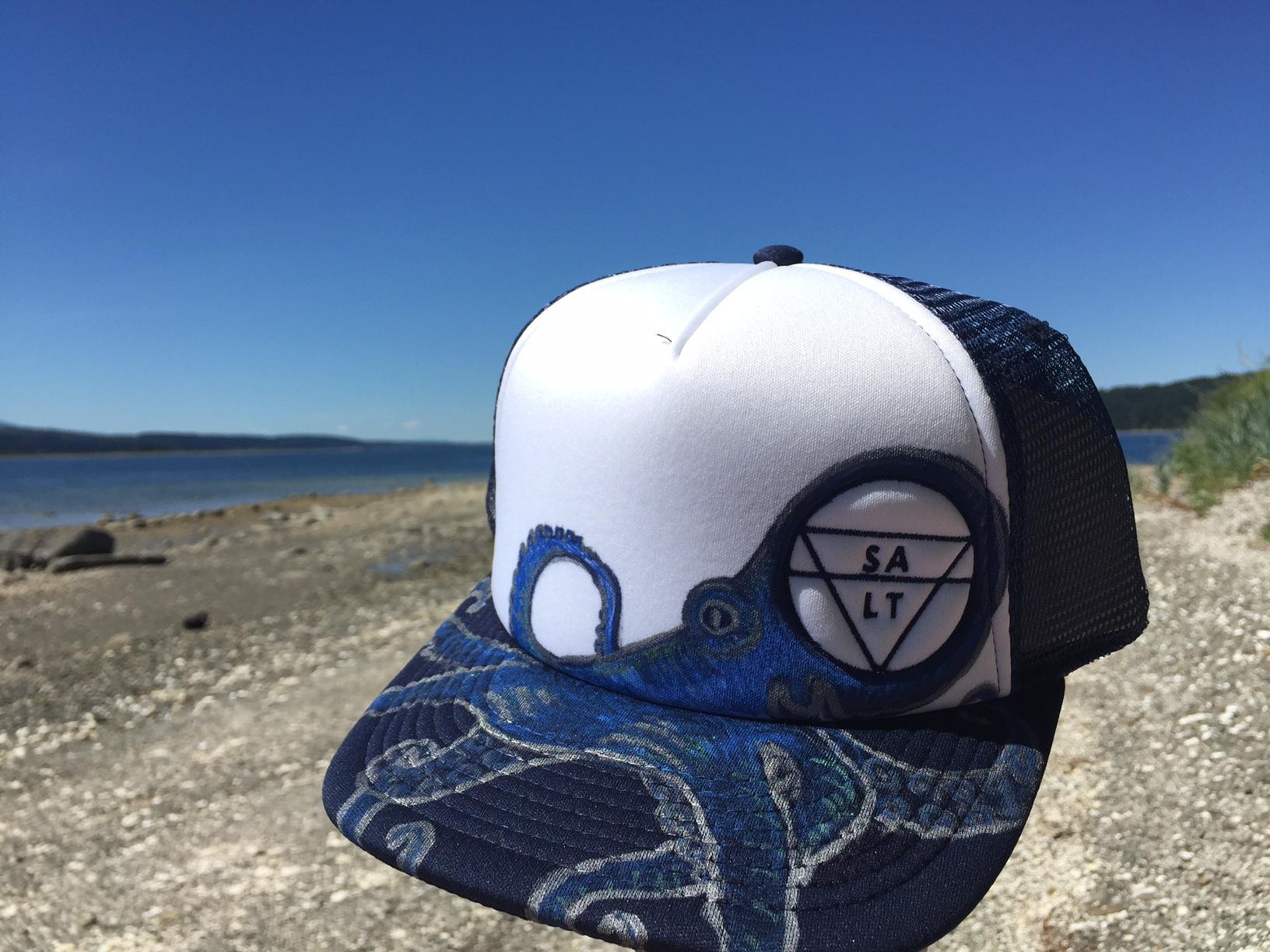 """Blue Octopus"" on Navy Hat"