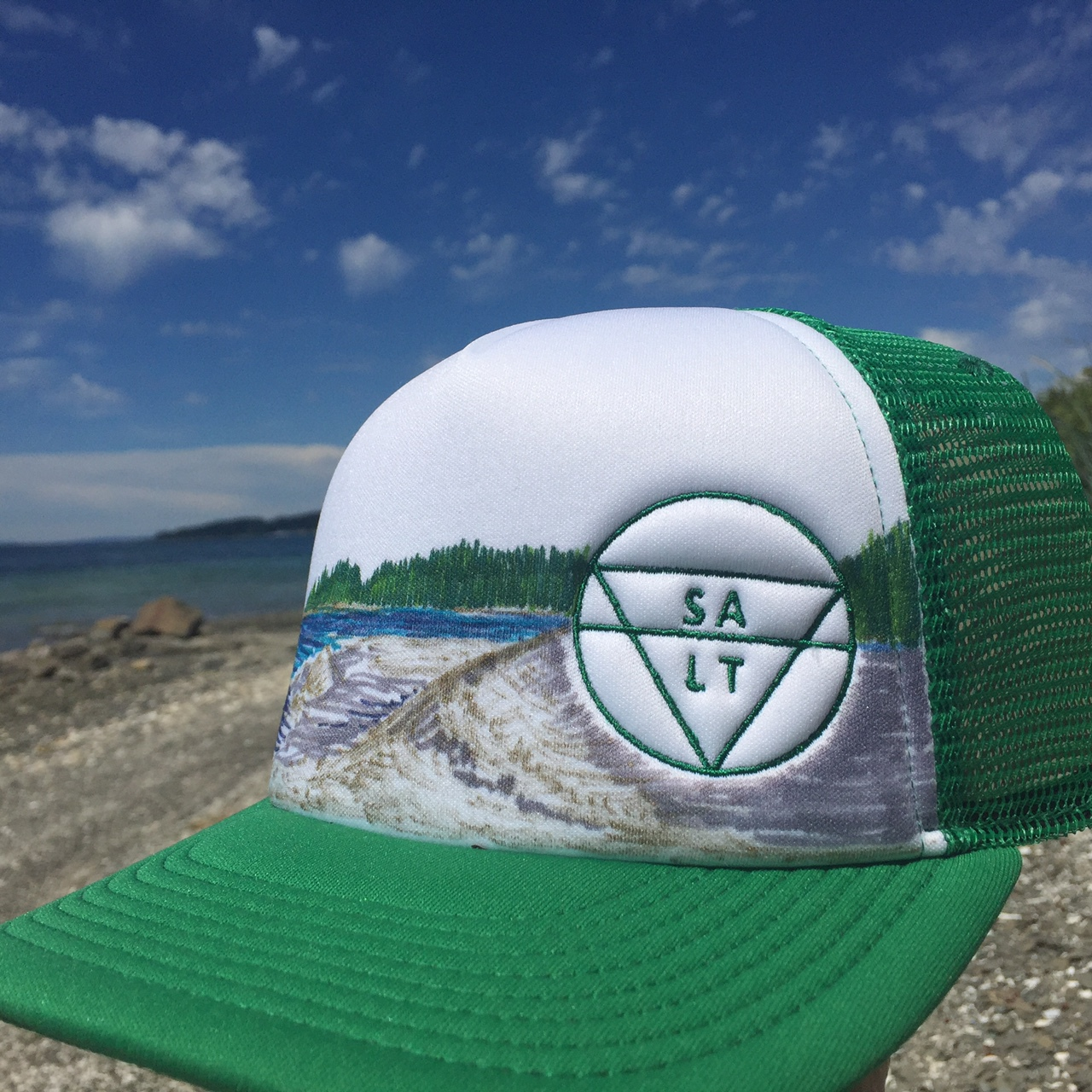 "CUSTOM ""Tidelines"" on Green Hat"