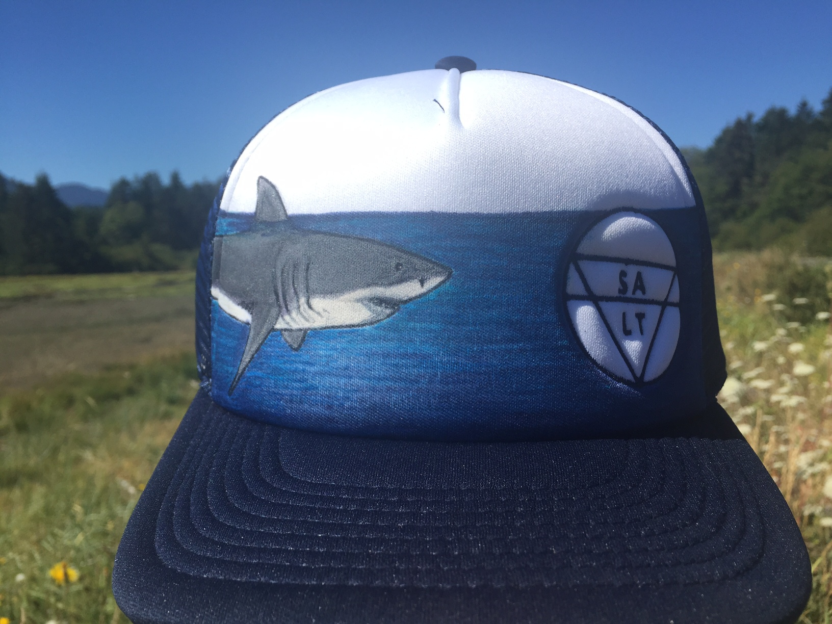 "CUSTOM ""Shark"" on Navy Hat"