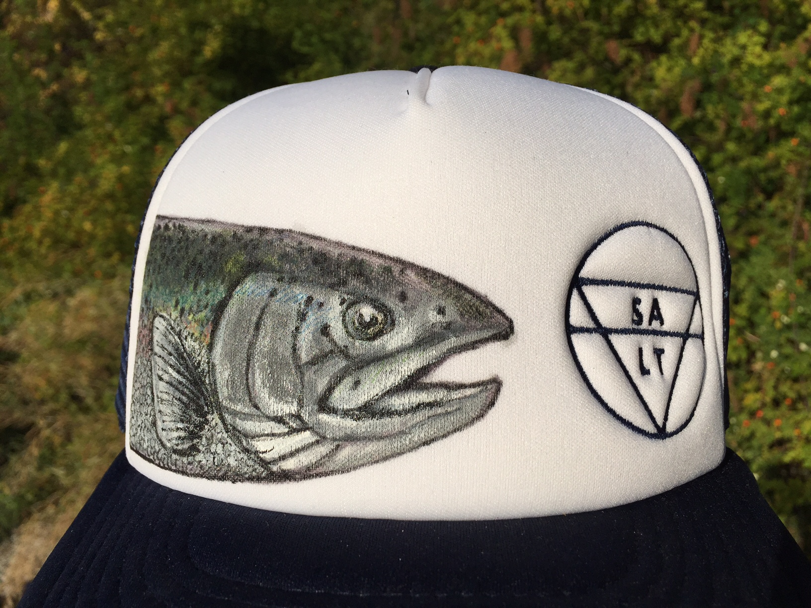 """CUSTOM """"Isaac's Trout"""" on Navy Hat - Detail"""