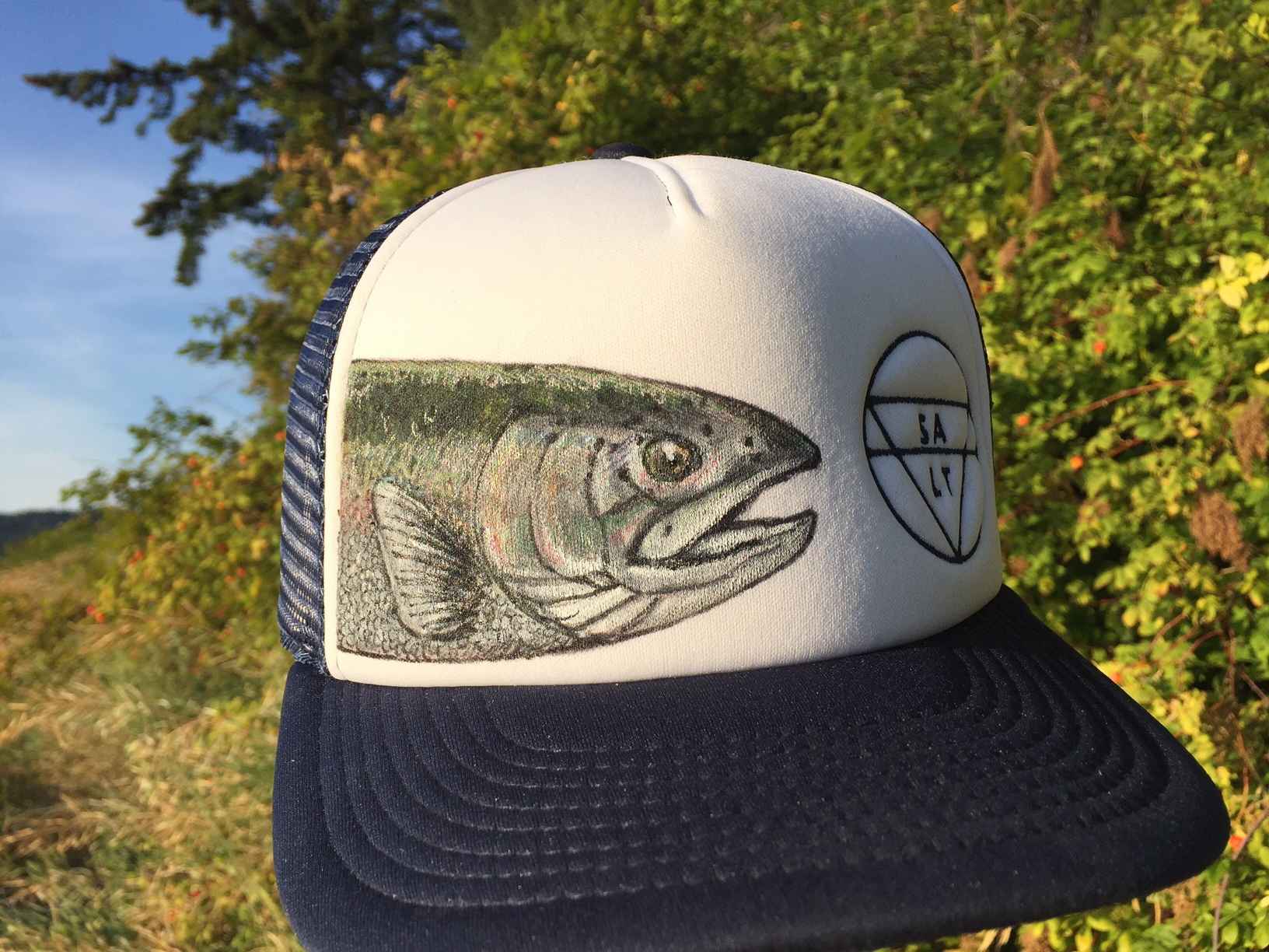 "CUSTOM ""Isaac's Trout"" on Navy Hat"