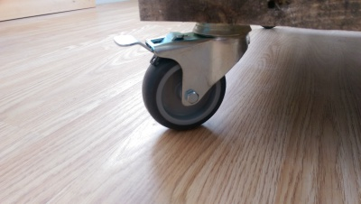 Steel castors for pallet coffee table.