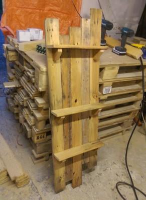 Pallet board shelves.