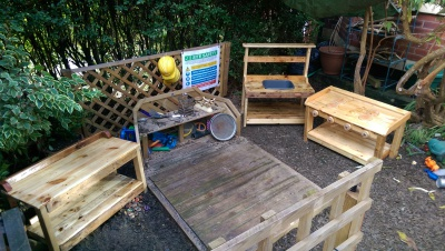 Mud kitchen garden set made from solid reclaimed wood.