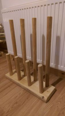 Welly rack made from reclaimed wood.